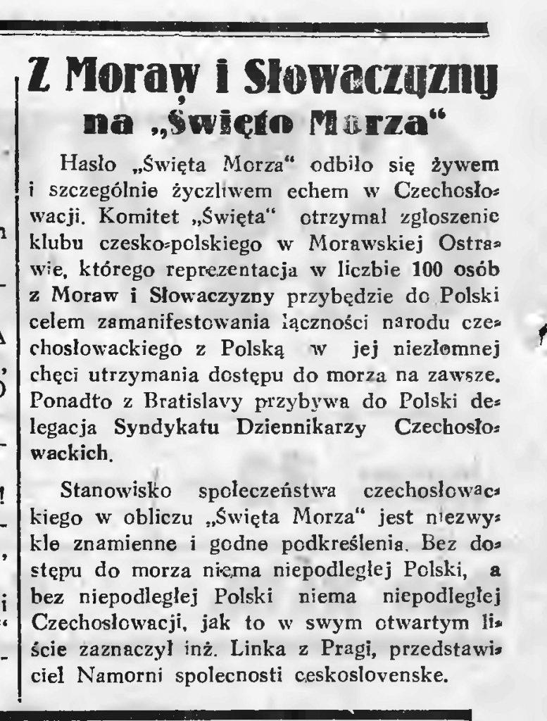 Z Moraw i Słowiańszczyzny na Święto Morza