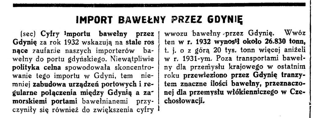 Import bawełny przez Gdynię