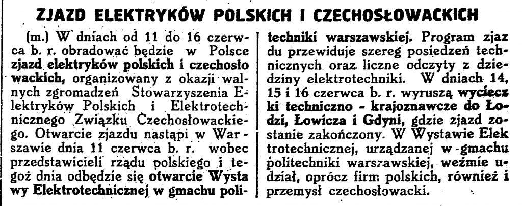 Zjazd elektryków polskich i czechosłowackich