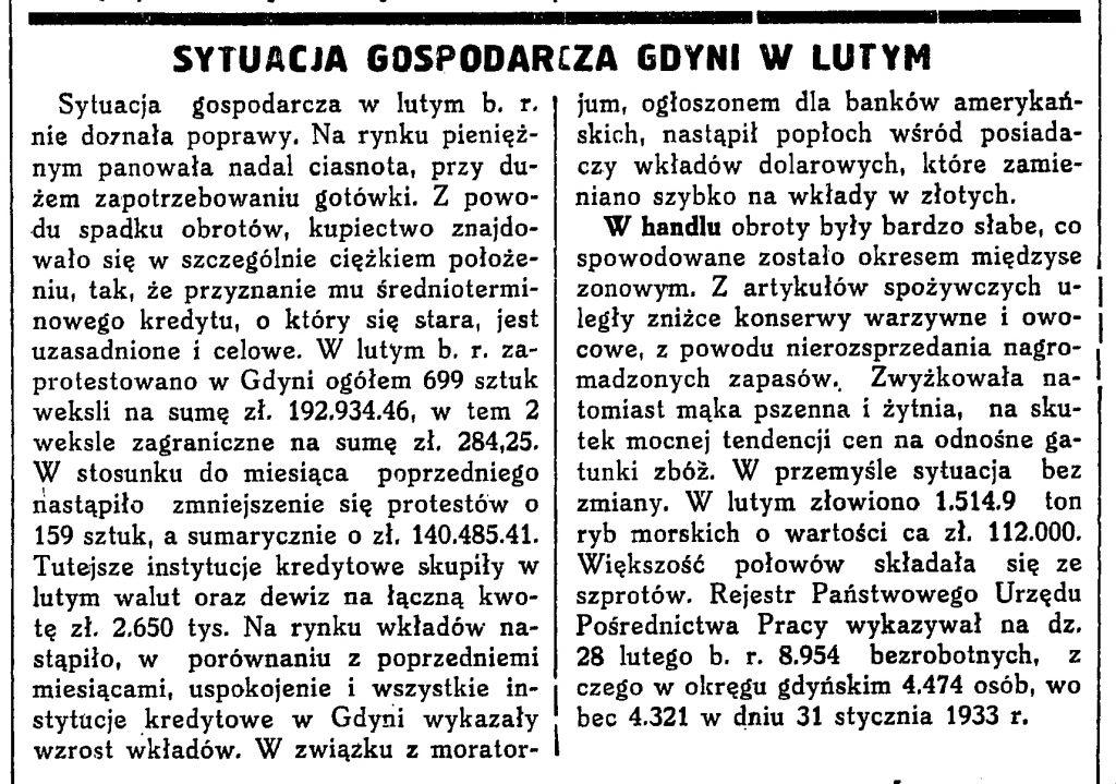 Sytuacja gospodarcza Gdyni w lutym [1933A r.]