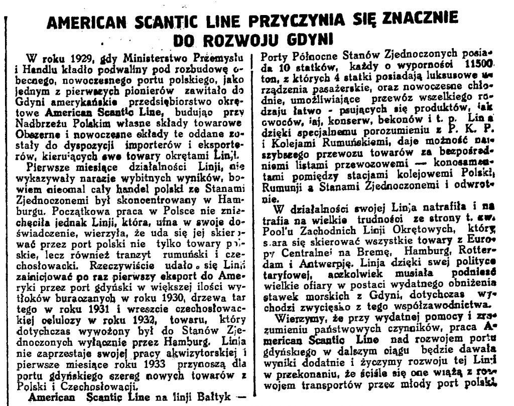 American Scantic Line przyczynia się znacznie do rozwoju Gdyni