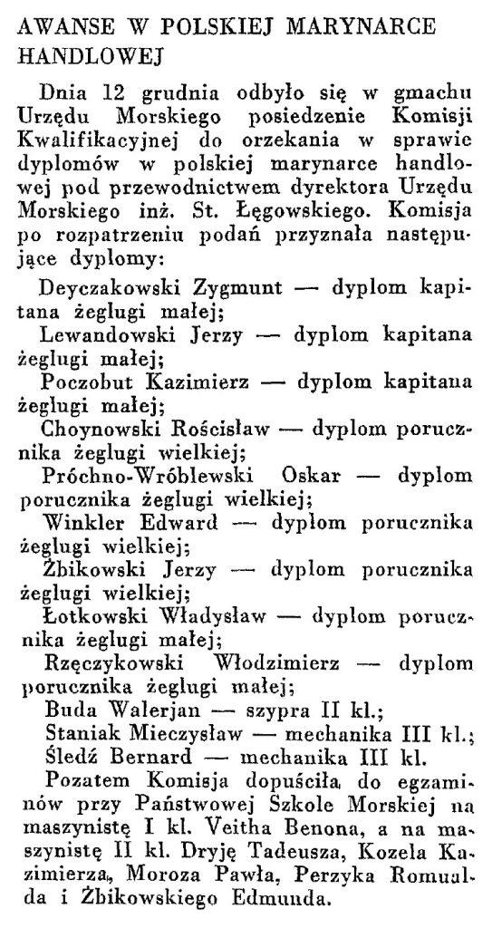 Awanse w polskiej marynarce handlowej