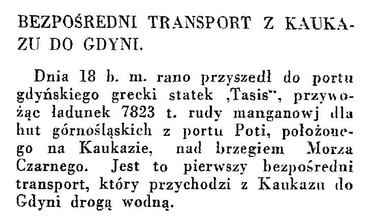 Bezpośredni transport z Kaukazu do Gdyni wpg1933-12-31