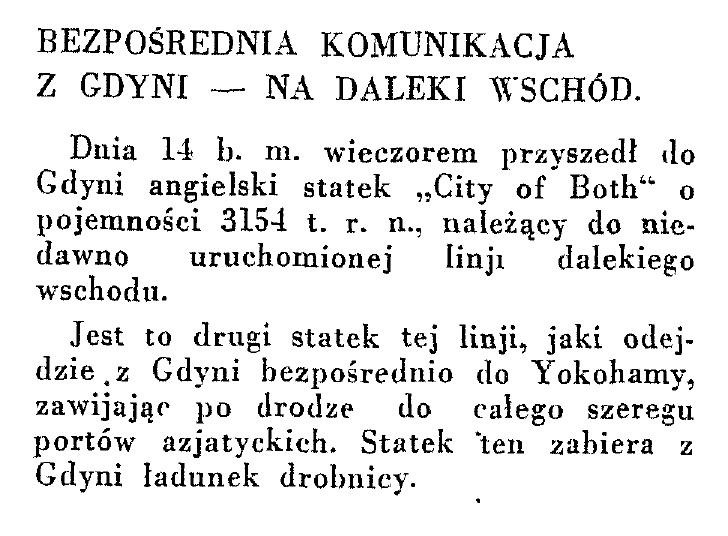 Bezpośrednia komunikacja z Gdyni na Daleki Wschód