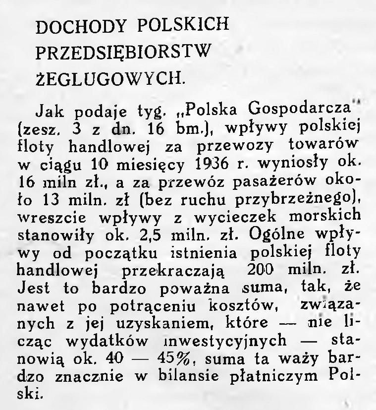 Dochody polskich przedsiębiorstw żeglugowych