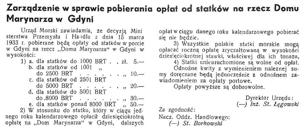 Zarządzenie w sprawie pobierania opłat na rzecz Domu Marynarza w Gdyni