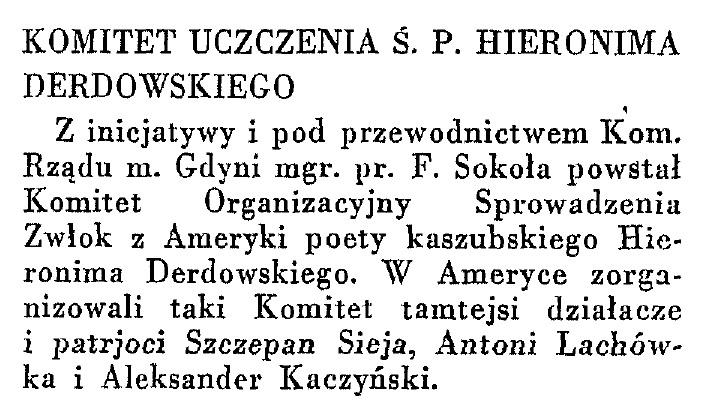 Komitet uczczenia Ś. P. H. Derdowskiego