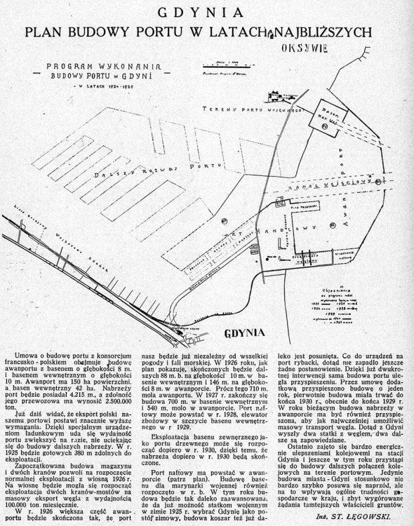 Gdynia. Plan budowy Portu