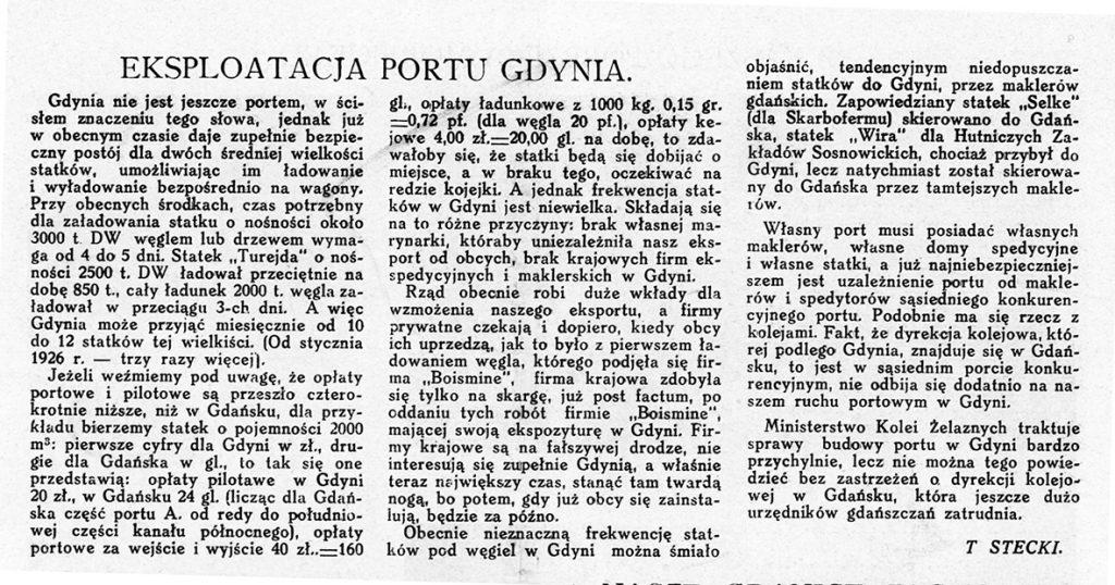 Eksploatacja portu Gdynia