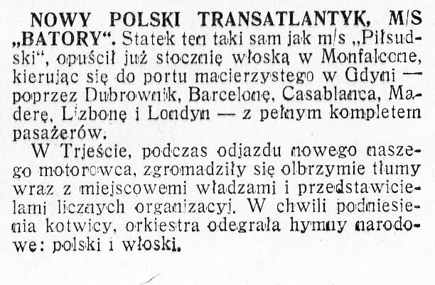 Nowy polski transatlantyk MS Batory