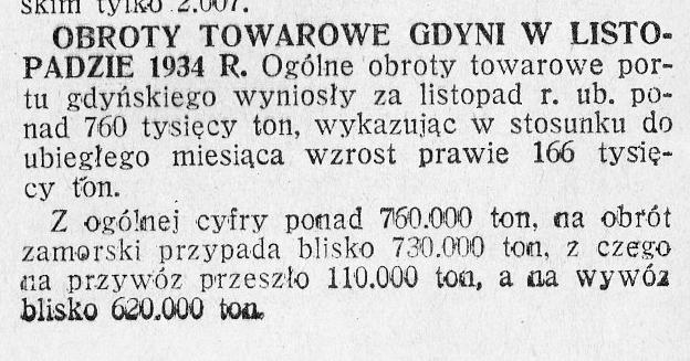 Obroty portowe Gdyni w listopadzie 1934 r.