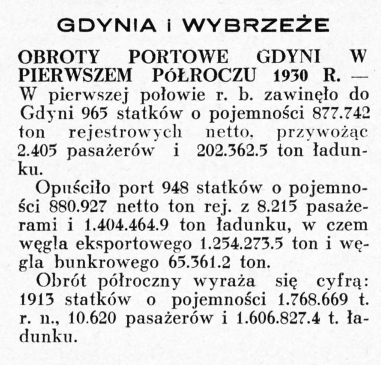 Obroty portowe Gdyni w pierwszem półroczu 1930 r.