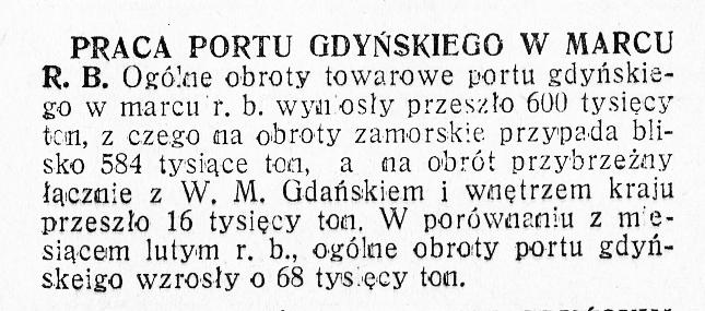 Praca portu gdyńskiego w marcu R.B. [1936]