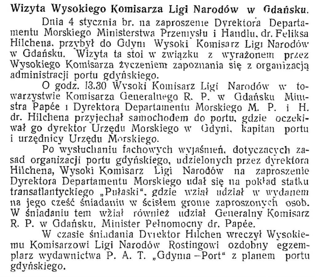 Wizyta Wysokiego Komisarza Ligi Narodów w Gdańsku