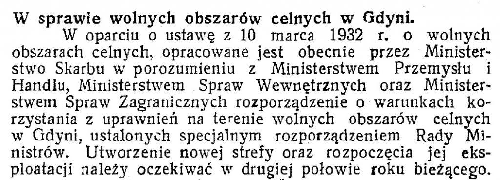 W sprawie wolnych Obszarów celnych w Gdyni