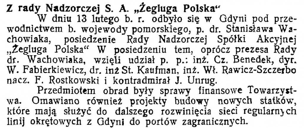 Z Rady Nadzorczej S. A. Żegluga Polska