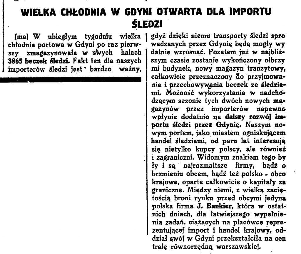 Chłodnia w Gdynia ; Śledzie