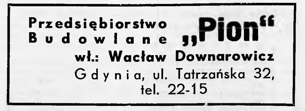 """Przedsiębiorstwo Budowlane """"Pion"""" wł.: Wacław Downarowicz"""