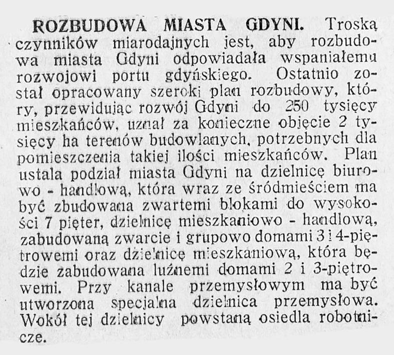 Rozbudowa miasta Gdyni