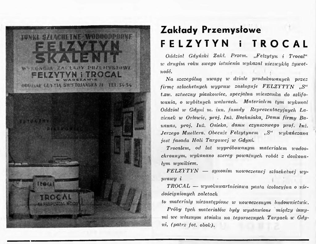 """Oddział Gdyński Zakł. Przem. """"Felzytyn i Trocal"""""""