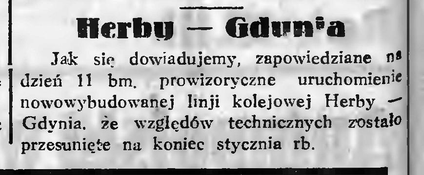 Linia kolejowa; Herby - Gdynia