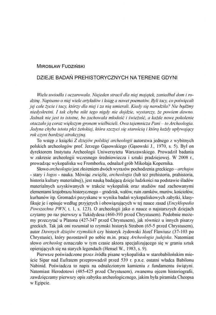 Dzieje badań prehistorycznych na terenie Gdyni