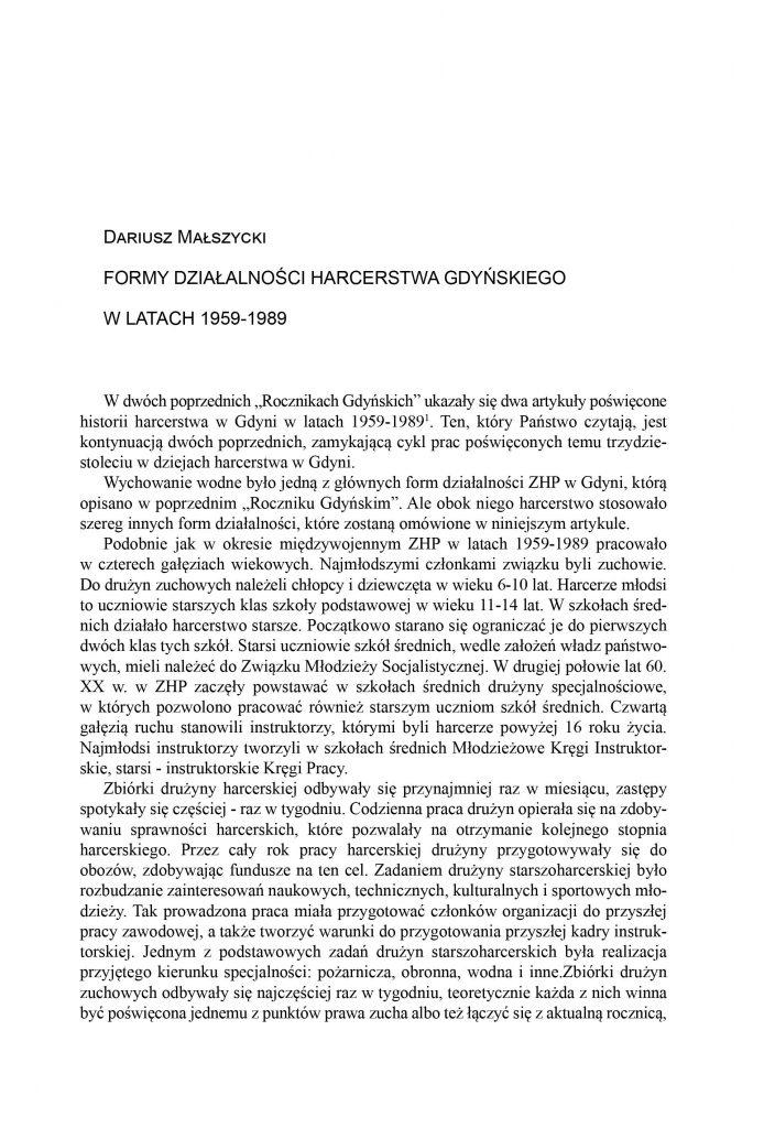 Formy działalności harcerstwa gdyńskiego w latach 1945-1989