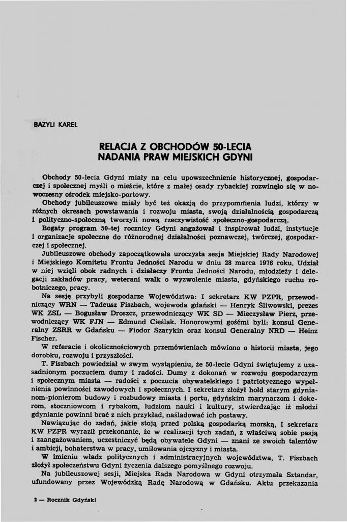 Przemówienie wygłoszone w Gdyni 19 czerwca 1976 r.