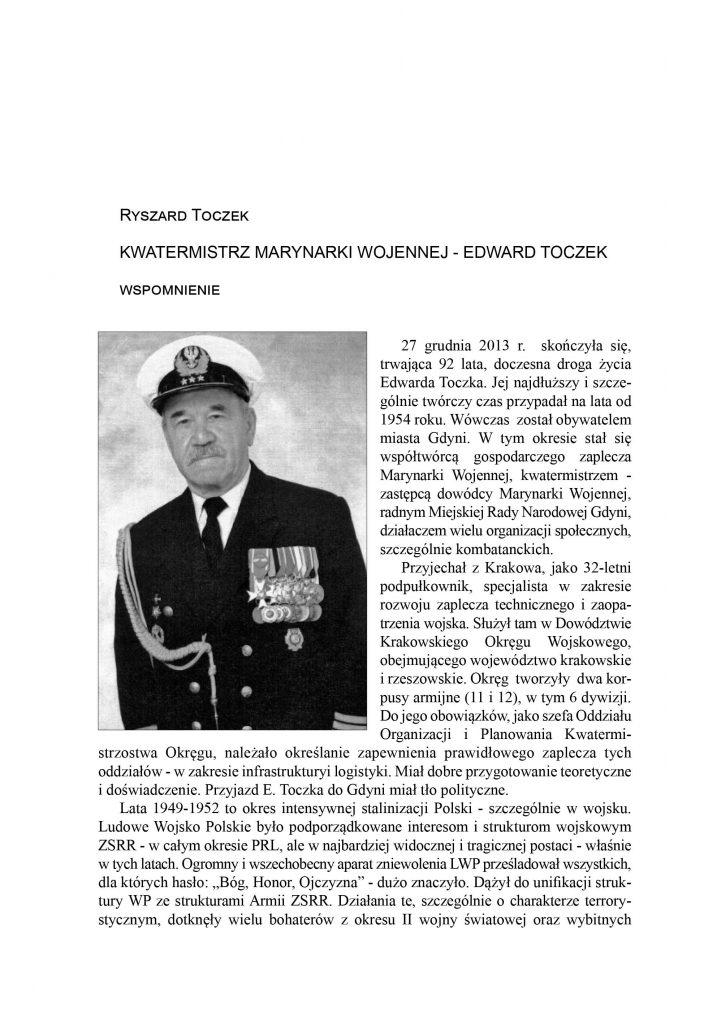 Kwatermistrz Marynarki Wojennej - Edward Toczek
