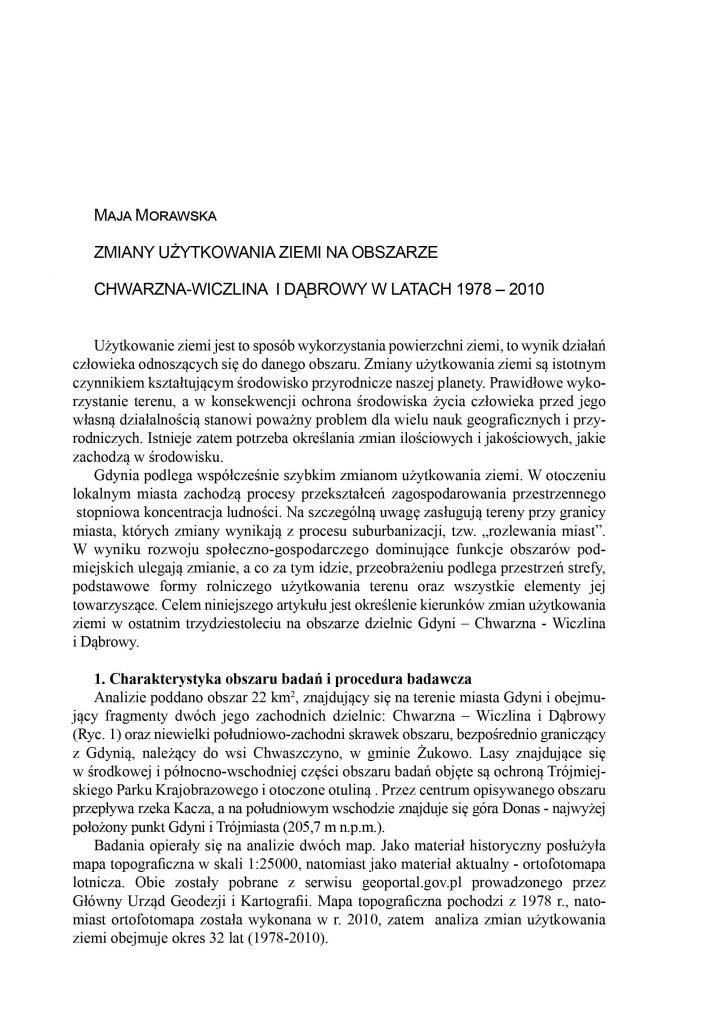 Użytkowanie ziemi na obszarze Chwarzna - Wiczlina  Dąbrowy w latach 1978-2010