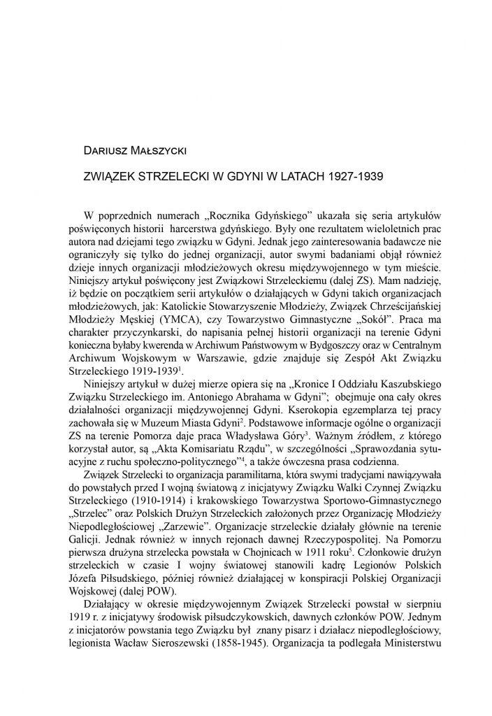 Związek Strzelecki w Gdyni w latach 1927-1939