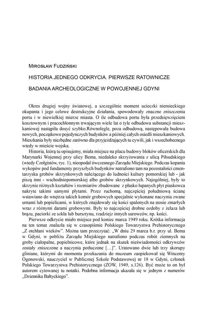 Historia jednego odkrycia. Pierwsze ratownicze badania archeologiczne w powojennej Gdyni