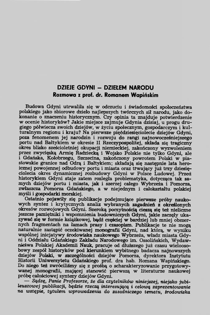 Dzieje Gdyni - Dziełem narodu