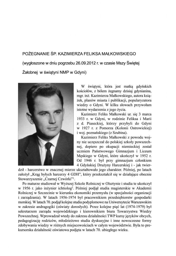 Pożegnanie śp. Kazimierza Feliksa Małkowskiego