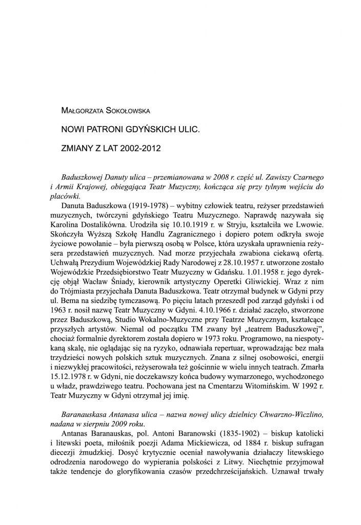Nowi patroni gdyńskich ulic. Zmiany z lat 2002-2012