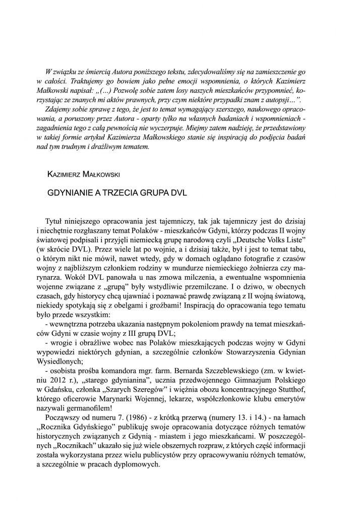 Gdynianie a trzecia grupa DVL