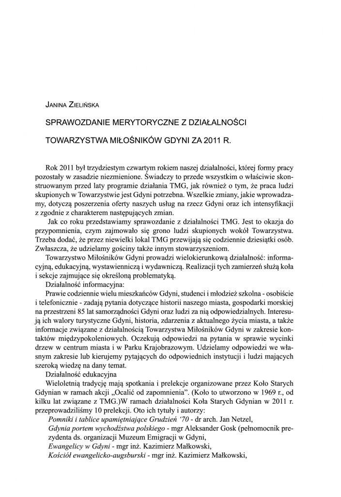 Sprawozdanie merytoryczne z działalności Towarzystwa Miłośników Gdyni za 2011 r.