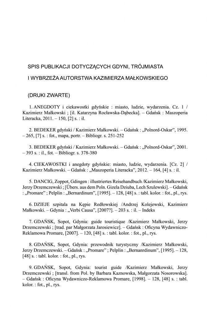 Spis publikacji dotyczących Gdyni, Trójmiasta i Wybrzeża autorstwa Kazimierza Małkowskiego