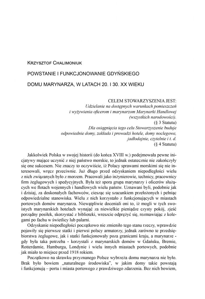 Powstanie i funkcjonowanie gdyńskiego Domu Marynarza w latach 20. i 30. XX wieku