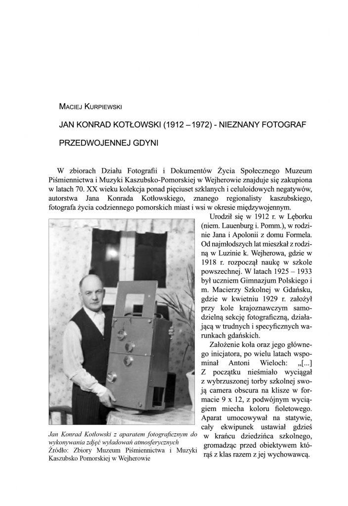 Jan Konrad Kotłowski (1912-1972) - nieznany fotograf przedwojennej Gdyni
