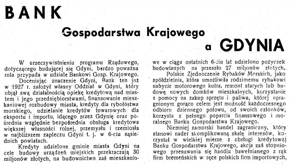 Bank Gospodarstwa Krajowego a Gdynia wpg1933-9-9