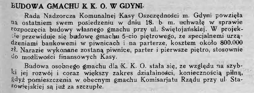 Budowa gmachu K.K.O. w Gdyni
