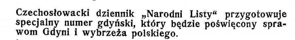 Czechosłowacki dziennik przygotowuje numer poświęcony Gdyni