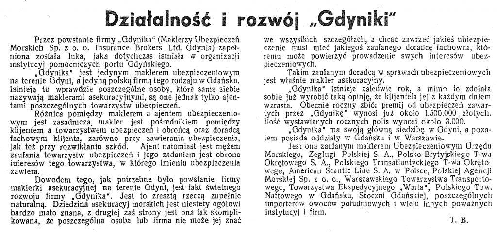 Działalność i rozwój Gdyniki