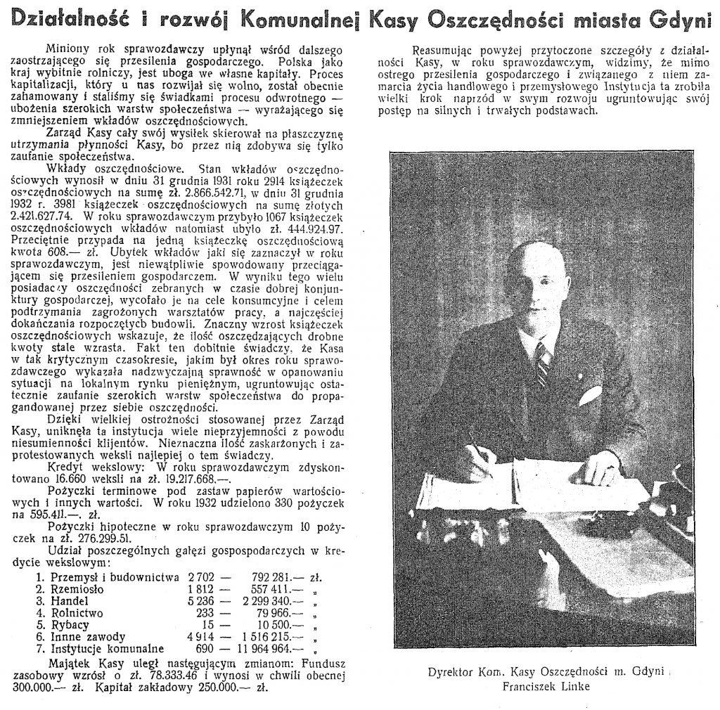 Działalność i rozwój Komunalnej Kasy Oszczędności Gdyni