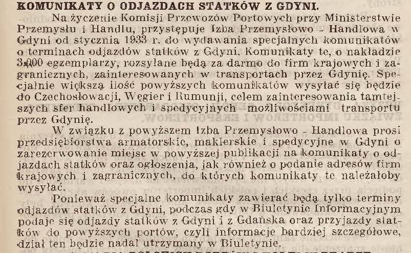 Komunikaty o odjazdach statków z Gdyni