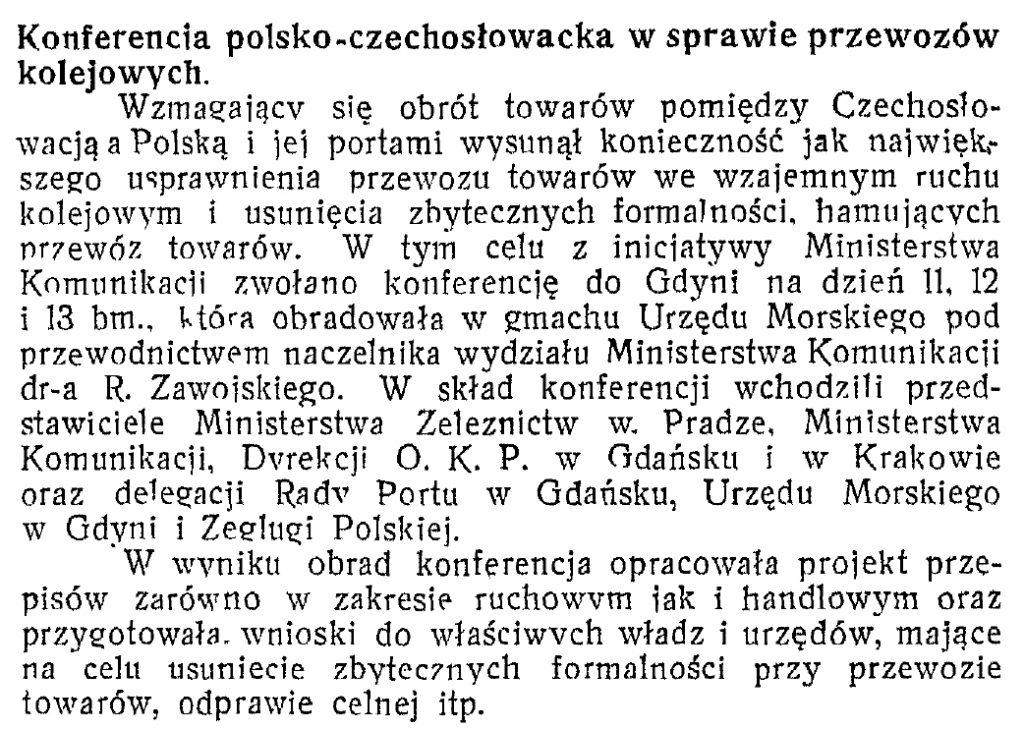 Konferencja polsko-czechosłowacka w sprawie przewozów kolejowych
