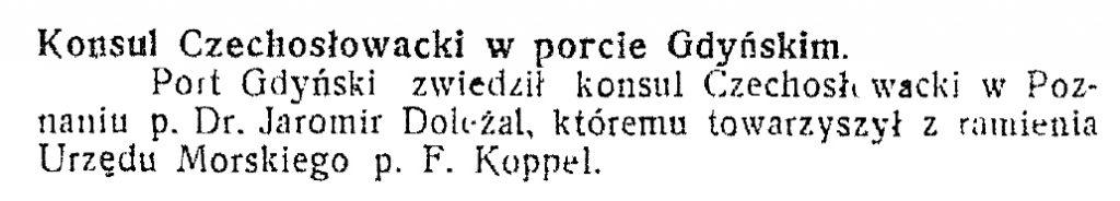 Konsul Czechosłowacki w porcie gdyńskim