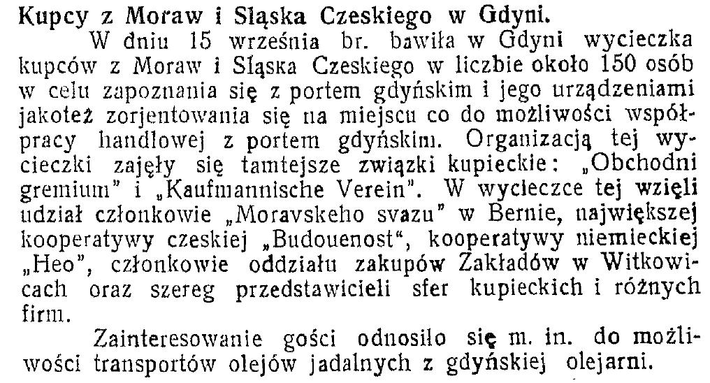 Kupcy z Moraw i Śląska Czeskiego w Gdyni