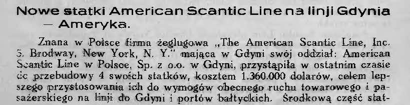 Nowe statki American Scantic Line na linji Gdynia - Ameryka